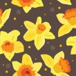 Seamless floral pattern with daffodils — Stock Vector
