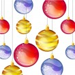 Stock Vector: Gold, blue and red Christmas balls.