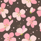 Seamless floral pattern with pink cherry flowers — Stock Vector