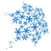 Big blue snowflake made of small ones — Stock Vector