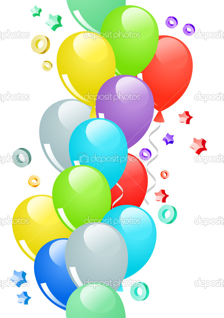 Many-colored ballons and confetti in seamless border — Stock Vector #4506357