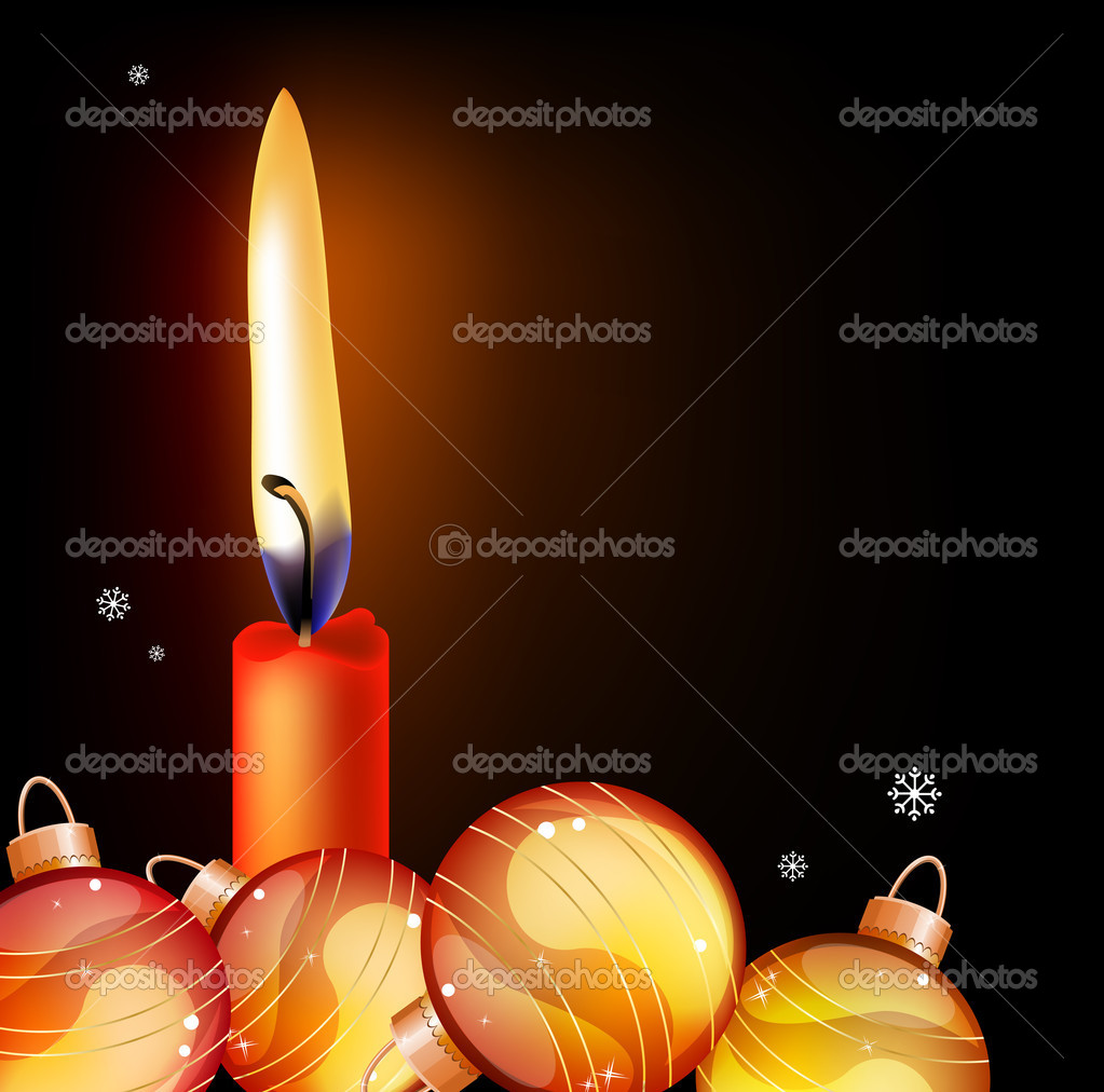 Black Christmas background with red candle and glass balls — Stock Vector #4518552