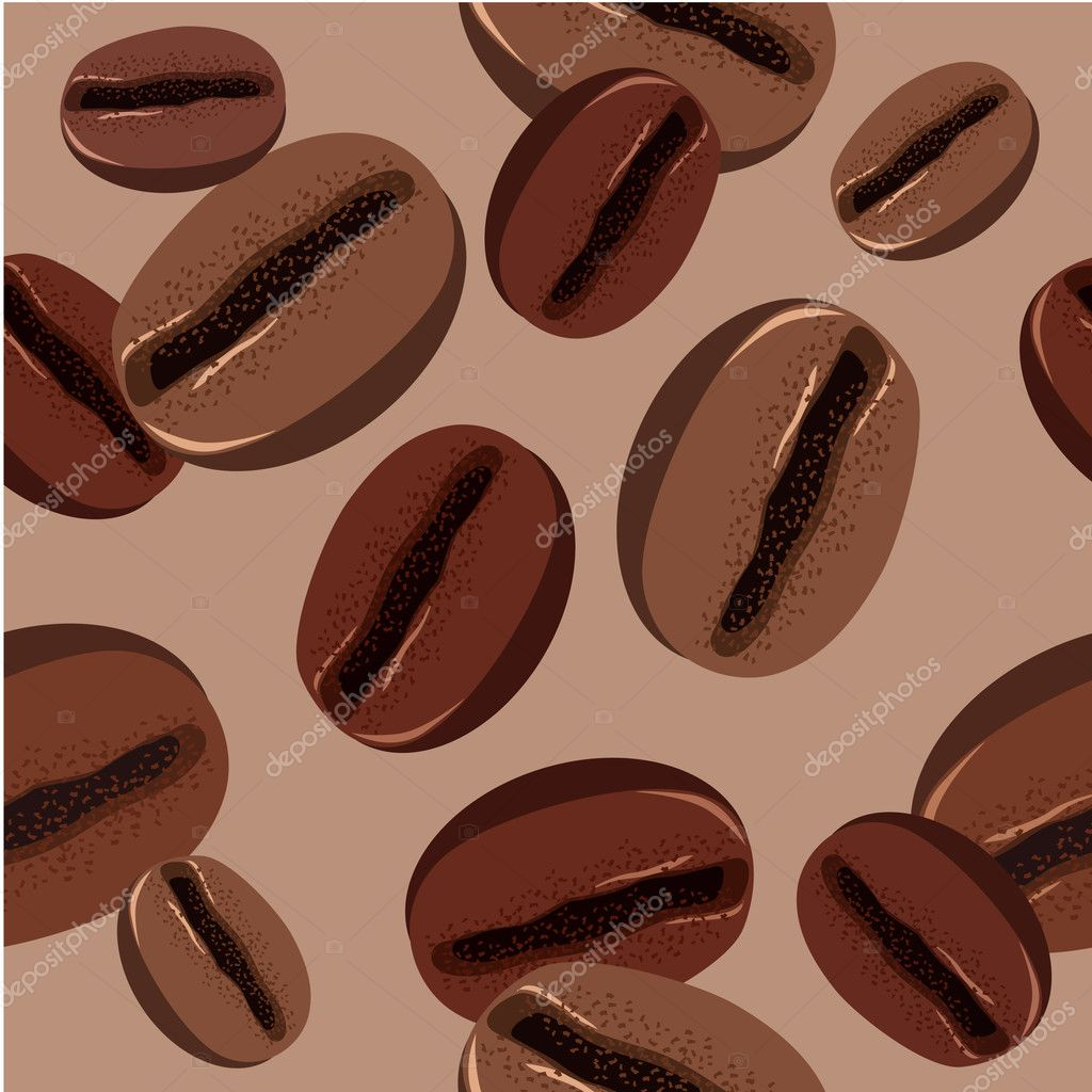 Seamless brown coffee beans on beige background  Stock Vector #4518902