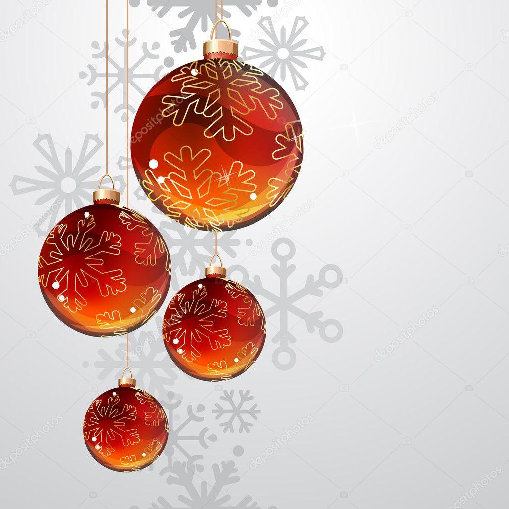 Tarjeta de felicitaci n de navidad con bolas doradas y - Bolas de navidad rojas ...