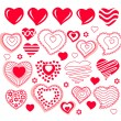 Collection of different heart shapes — Stock Vector