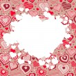Frame with many hearts - Stock Vector