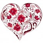 Heart shape made of flowers — Stock Vector