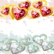Gold and silver seamless borders made of hearts — ストックベクター #4634396