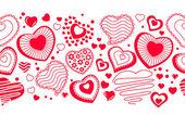 Bezešvé horizonatal vzorek s obrysy srdce — Stock vektor