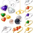 Collection of different jewels — ストックベクタ
