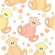 Royalty-Free Stock Imagen vectorial: Seamless pattern with teddy bears