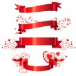 Four floral red banners - Stockvectorbeeld