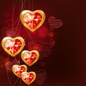 Ruby zlaté srdce — Stock vektor
