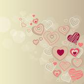 轮廓的心在柔和的背景 — 图库矢量图片