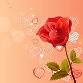 Rosa bakgrund med ros — Stockvektor