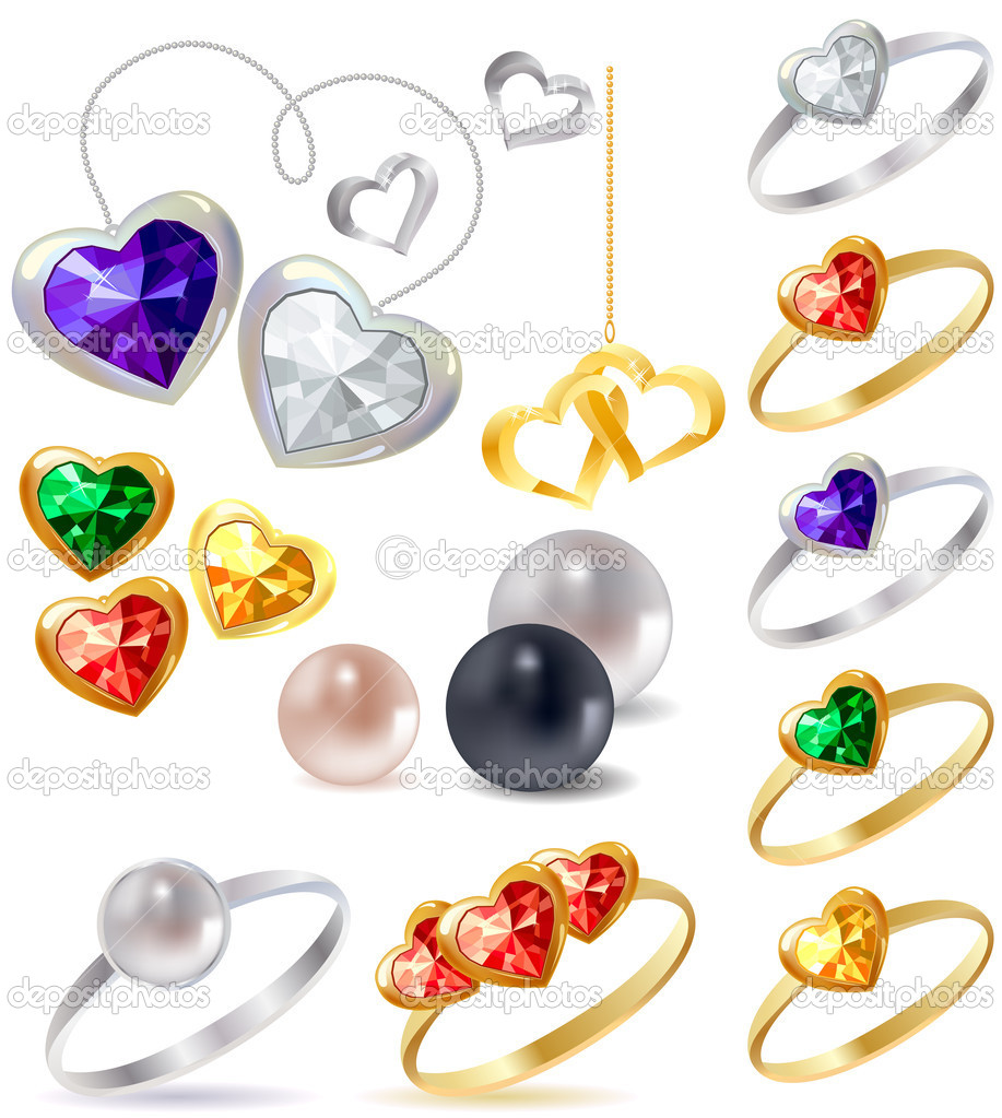 Different gold and silver rings and necklaces with gems — Vektorgrafik #4640462