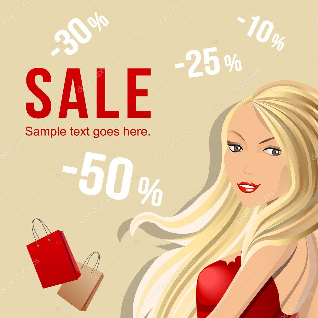 Sale banner with beautiful woman carrying bags  Stock Vector #4645991