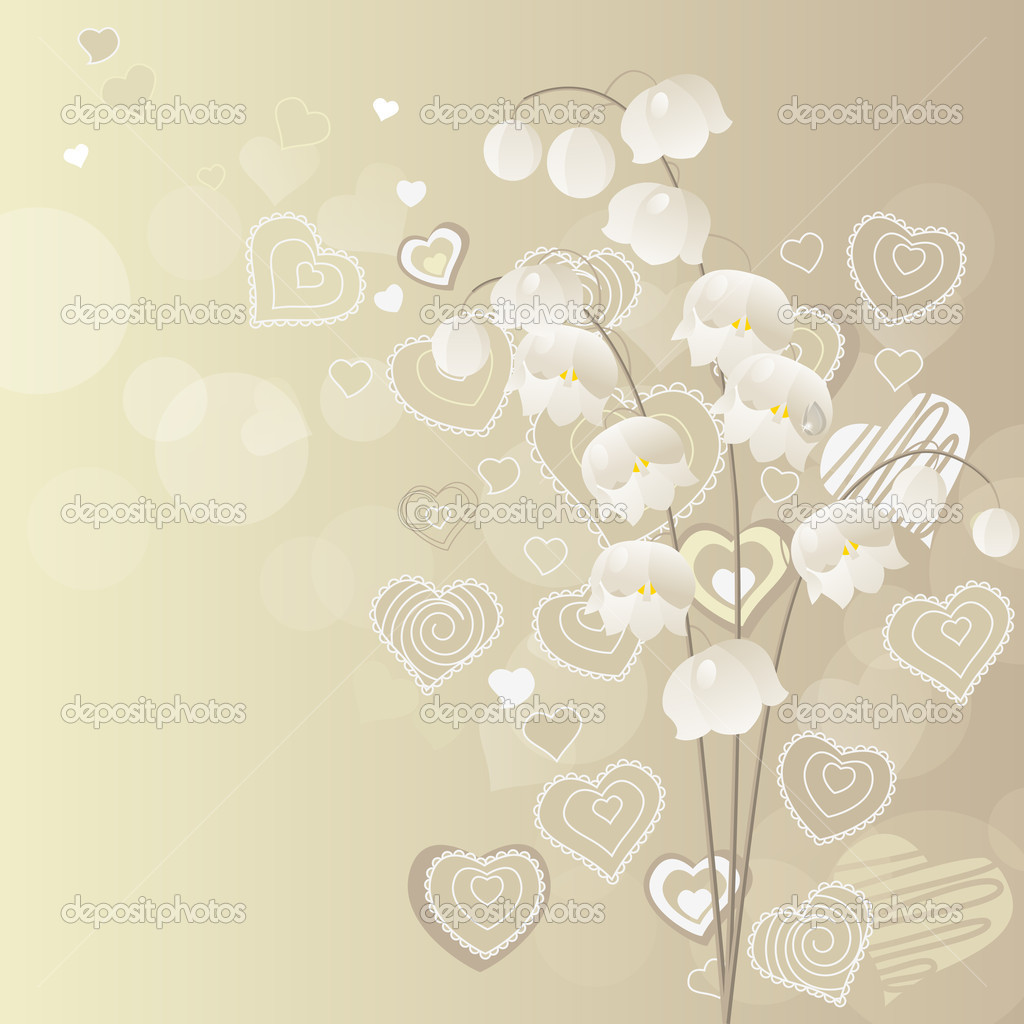 Light grey background with lily of the valley — ベクター素材ストック #4649973