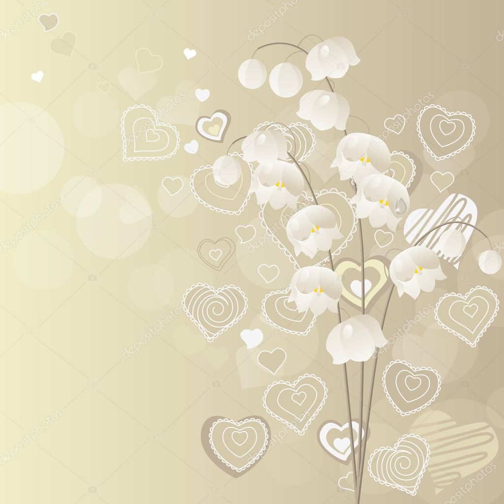 Light grey background with lily of the valley — Stock Vector #4649973