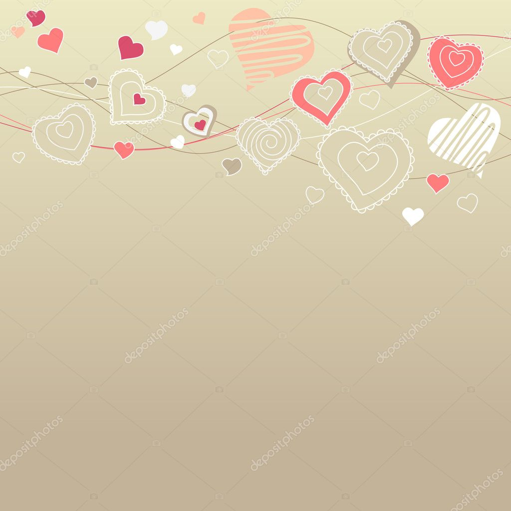 Valentine greeting card with different white hearts — Stock Vector #4654372