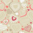 Seamless pattern with red contour shapes - Stok Vektr