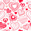 Seamless pattern with red contour hearts — Stock Vector #4673524
