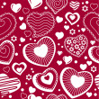 Seamless pattern with  contour hearts — Vettoriali Stock