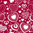 Seamless pattern with  contour hearts - Grafika wektorowa