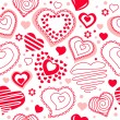 Seamless pattern with red contour hearts - Grafika wektorowa