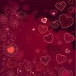 Contour hearts on dark red background - Grafika wektorowa