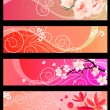 Stock Vector: Floral spring red banners