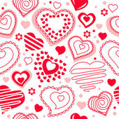 Seamless pattern with red contour hearts — Stock Vector