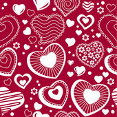 Seamless pattern with contour hearts — Stock Vector