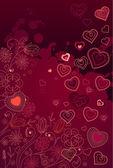 Kontur serca na ciemnym tle czerwony — Wektor stockowy