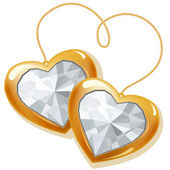 Two gold hearts with diamonds — Stock Vector