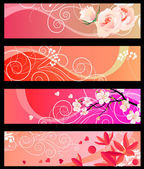 Floral spring red banners — Stock Vector