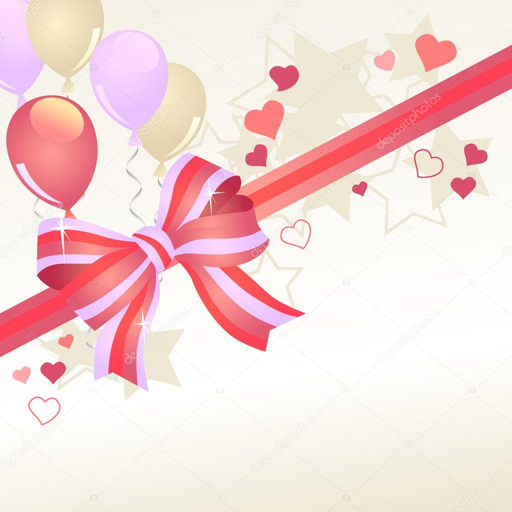 用红色弓和粉红色气球贺卡 — 矢量图片作者 nurrka