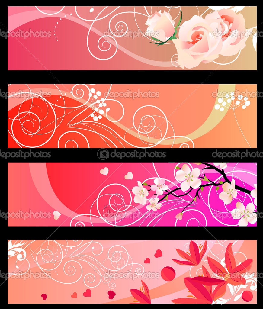Four red horizontal floral banners with hearts — Stock Vector #4673966