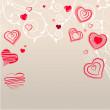 Contour red hearts on pastel background — Stock Vector