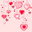Contour hearts hanging on pink background — Stock Vector #4687235