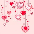 Stock Vector: Contour hearts hanging on pink background