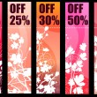 Floral spring red banners - Stock Vector