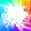 Rainbow swirl background with hearts — Imagen vectorial