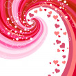 Red hearts on abstract background — Stock Vector
