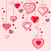 Contour hearts hanging on pink background — Stock Vector