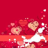 Kontur kırmızı kalpler kırmızı zemin üzerine — Stok Vektör