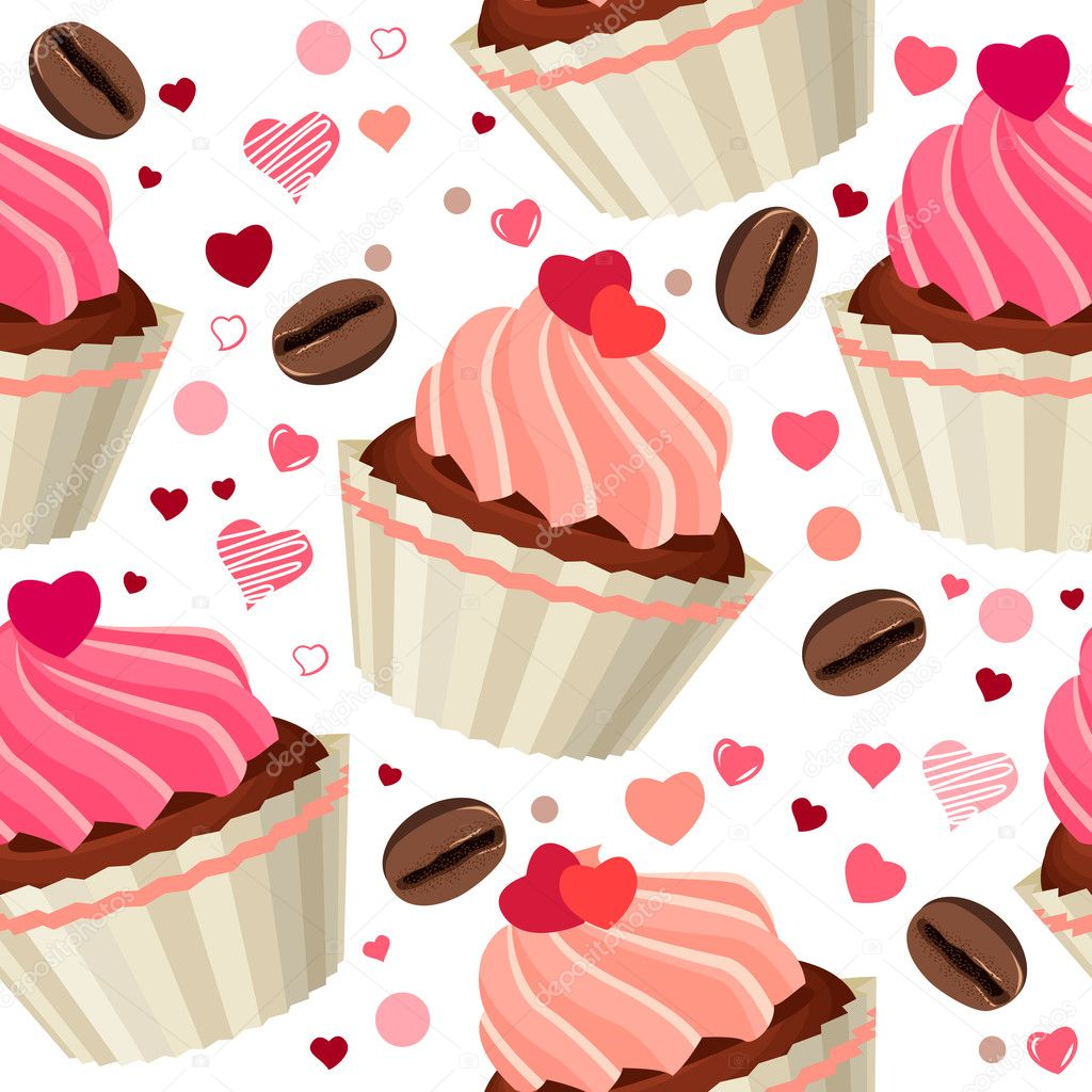 Seamless pattern with chocolates and red hearts  — Stock Vector #4687297