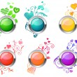 Flourish glossy buttons - Stock Vector