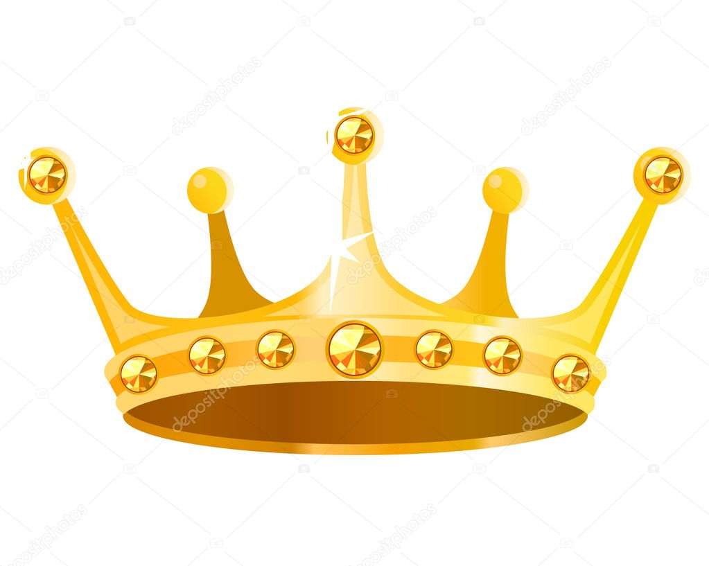 Gold crown with gems isolated on white background — Stock Vector #4704955