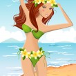 Young girl in bikini — Stock Vector